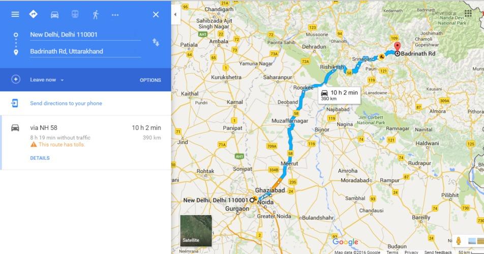 Delhi to Badrinath Road Route Map