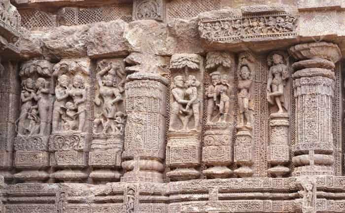 Erotic stone work at Konark Sun Temple